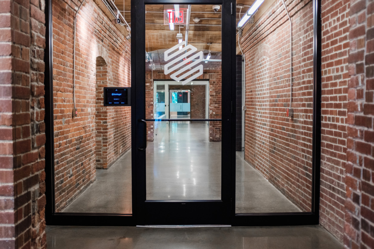 Image of the Markforged headquarters front office door