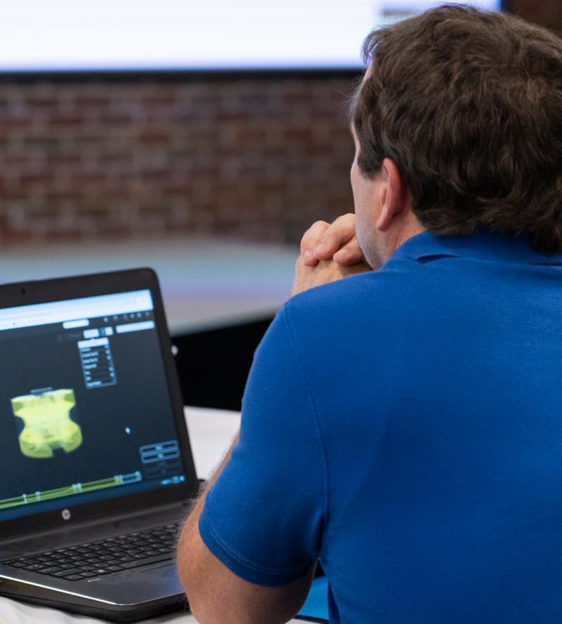 Engineer viewing Markforged University Online