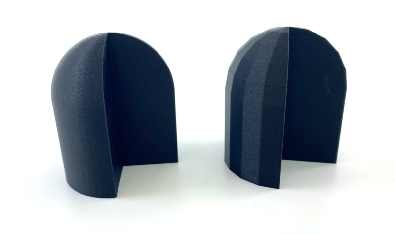 Two 3D printed parts from STL file