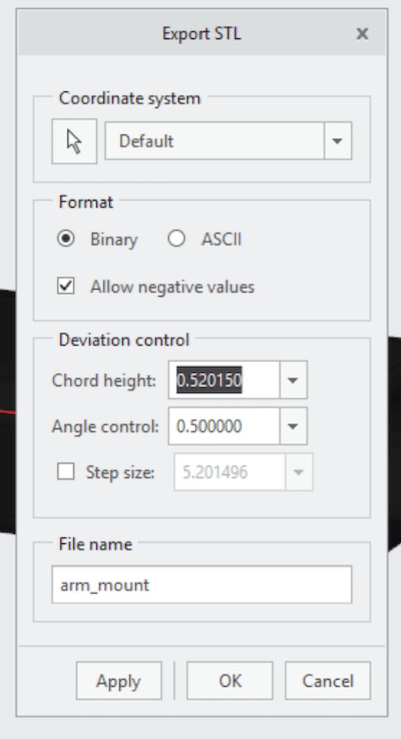 Creto STL settings