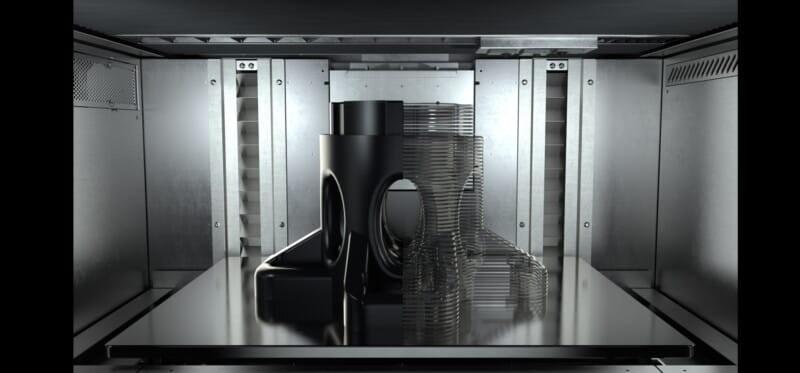 3d printed ULTEM™ 9085 and carbon fiber part inside a printer