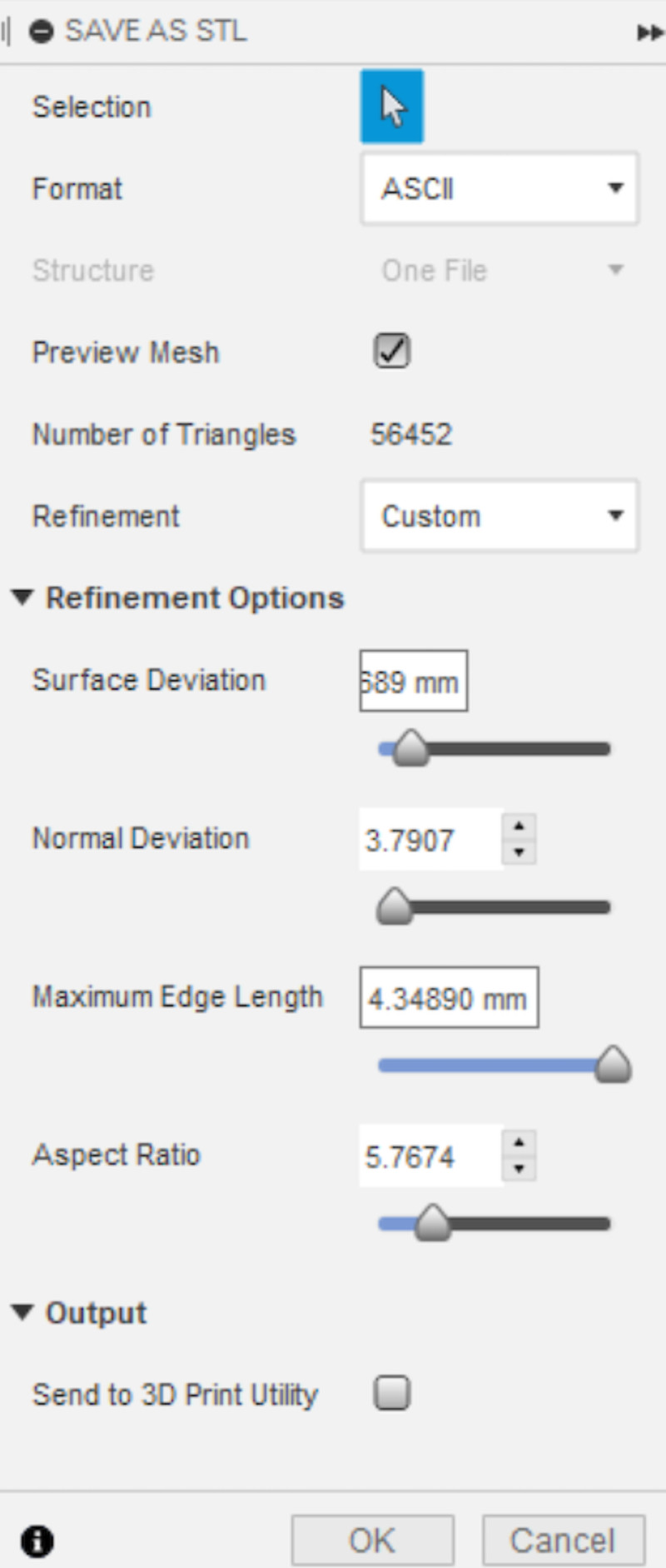 Fusion STL settings