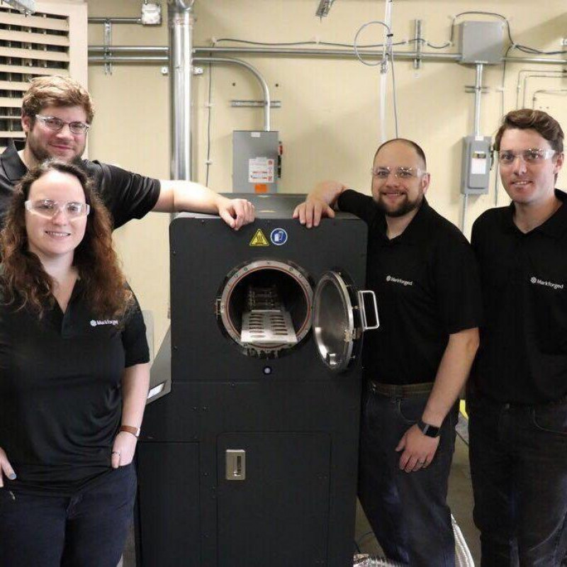 Team photo of Markforged engineers in front of the Sinter-2