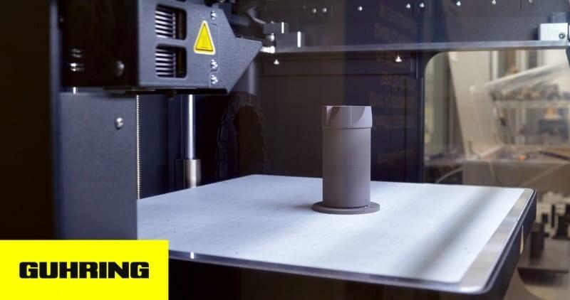 Guhring UK 3D printed metal cutting tool on print bed