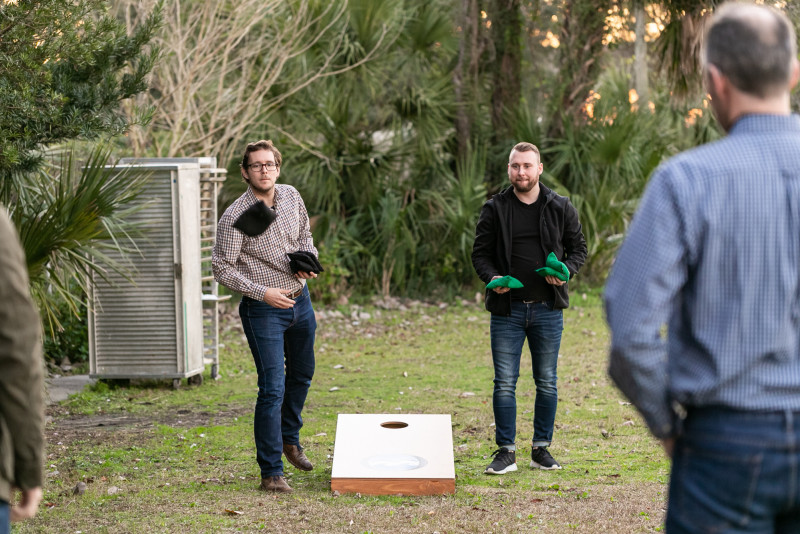 Markforged partners playing a lawn game outside